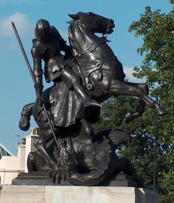 1907 statue of George and the dragon by C.L. Hartwell in St. John's Wood, London
